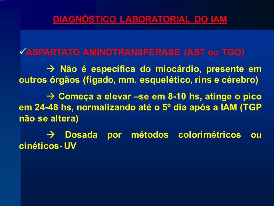 DIAGNÓSTICO LABORATORIAL DO IAM ASPARTATO AMINOTRANSFERASE (AST ou TGO)  Não é específica do miocárdio, presente em outros órgãos (fígado, mm.