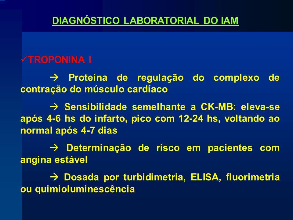 TROPONINA I  Proteína de regulação do complexo de contração do músculo cardíaco  Sensibilidade semelhante a CK-MB: eleva-se após 4-6 hs do infarto, pico com 12-24 hs, voltando ao normal após 4-7 dias  Determinação de risco em pacientes com angina estável  Dosada por turbidimetria, ELISA, fluorimetria ou quimioluminescência DIAGNÓSTICO LABORATORIAL DO IAM