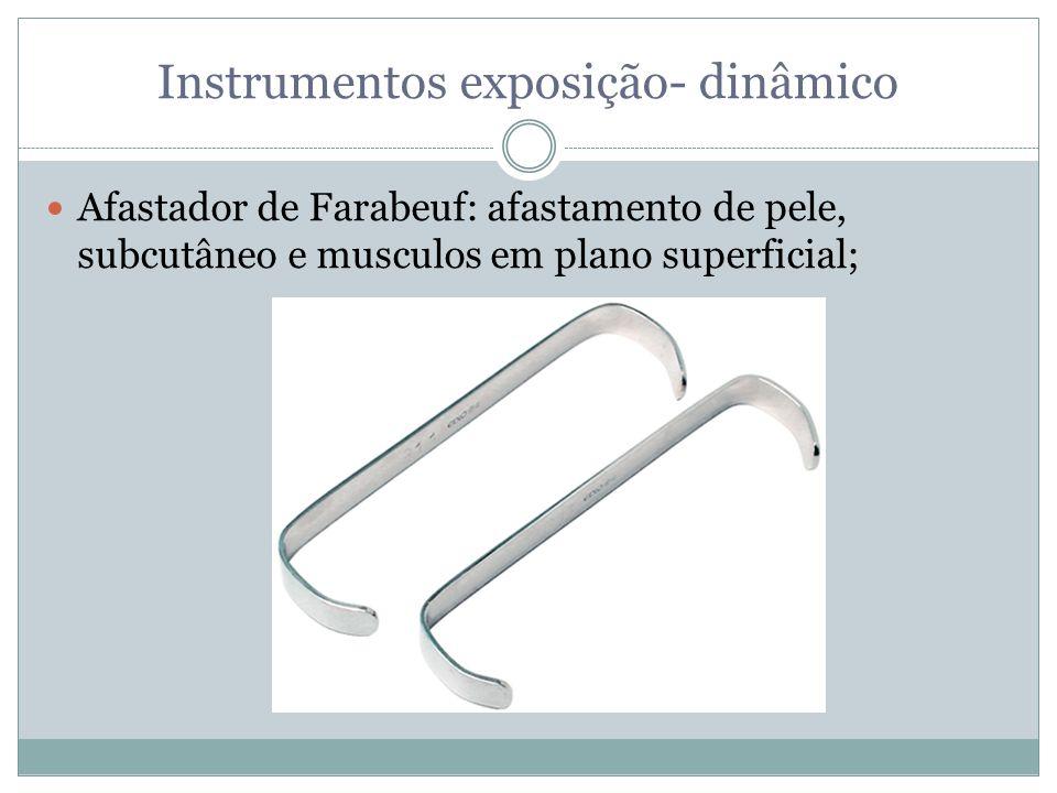Instrumentos exposição- dinâmico Afastador de Farabeuf: afastamento de pele, subcutâneo e musculos em plano superficial;