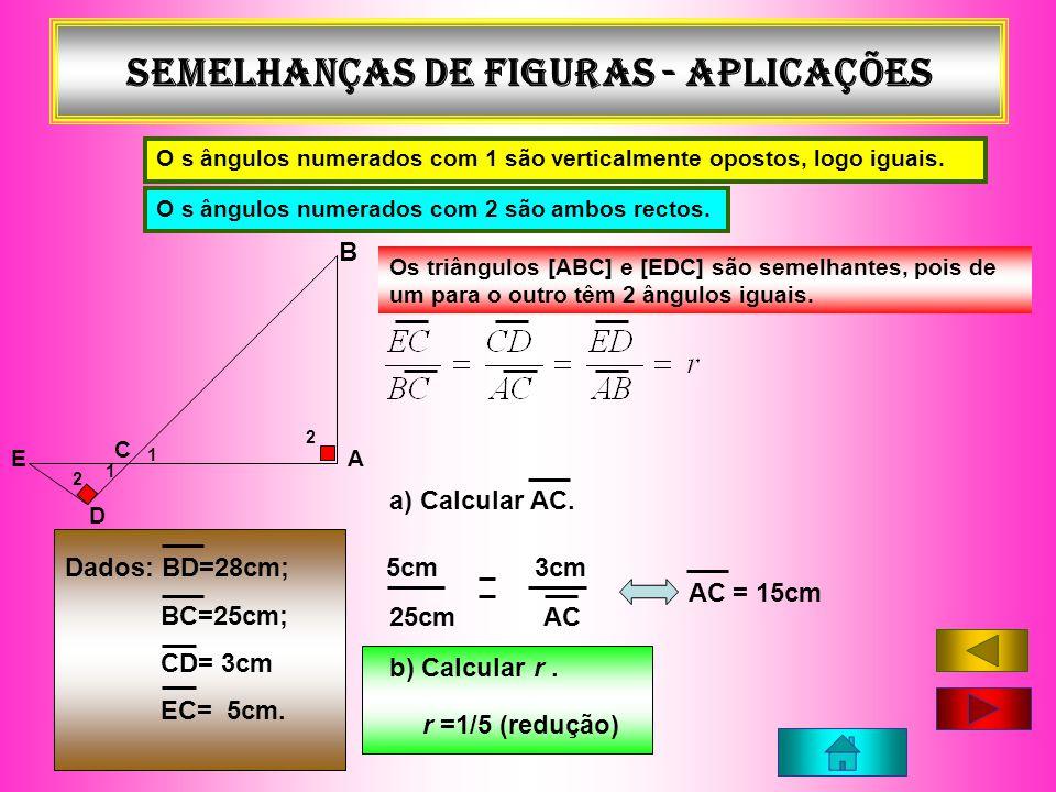 Semelhanças de figuras - APLICAÇÕES A C B E D Os triângulos [ABC] e [EDC] são semelhantes, pois de um para o outro têm 2 ângulos iguais. Dados: BD=28c