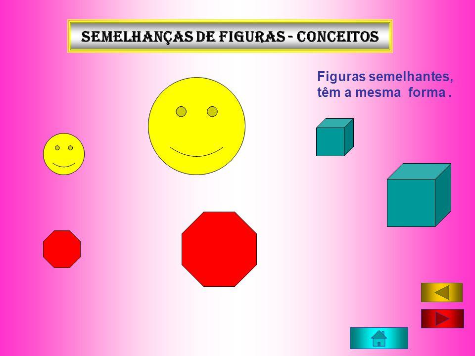 Semelhanças de figuras - conceitos Figuras semelhantes, têm a mesma forma.