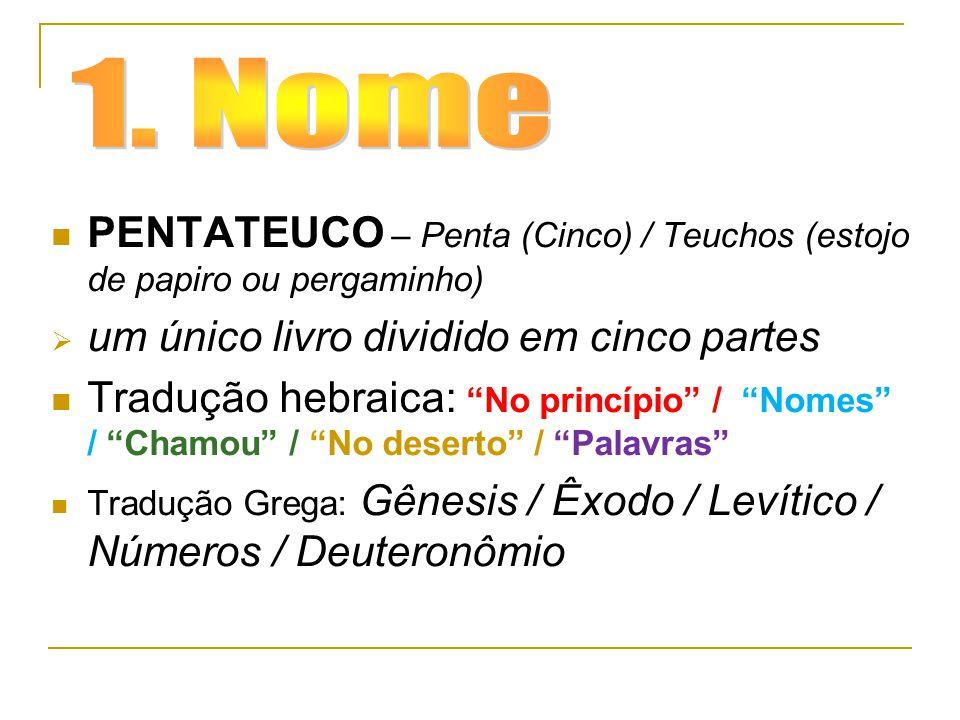 """PENTATEUCO – Penta (Cinco) / Teuchos (estojo de papiro ou pergaminho)  um único livro dividido em cinco partes Tradução hebraica: """"No princípio"""" / """"N"""