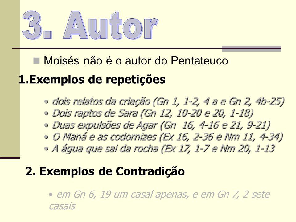 Moisés não é o autor do Pentateuco 1.Exemplos de repetições dois relatos da criação (Gn 1, 1-2, 4 a e Gn 2, 4b-25) dois relatos da criação (Gn 1, 1-2,