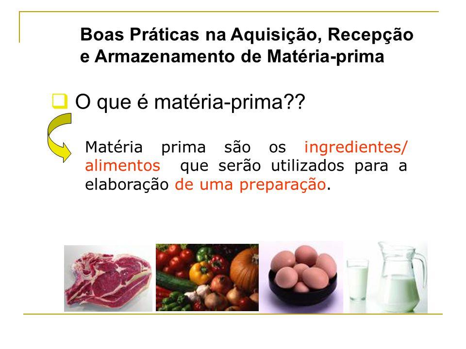 Matéria prima são os ingredientes/ alimentos que serão utilizados para a elaboração de uma preparação.