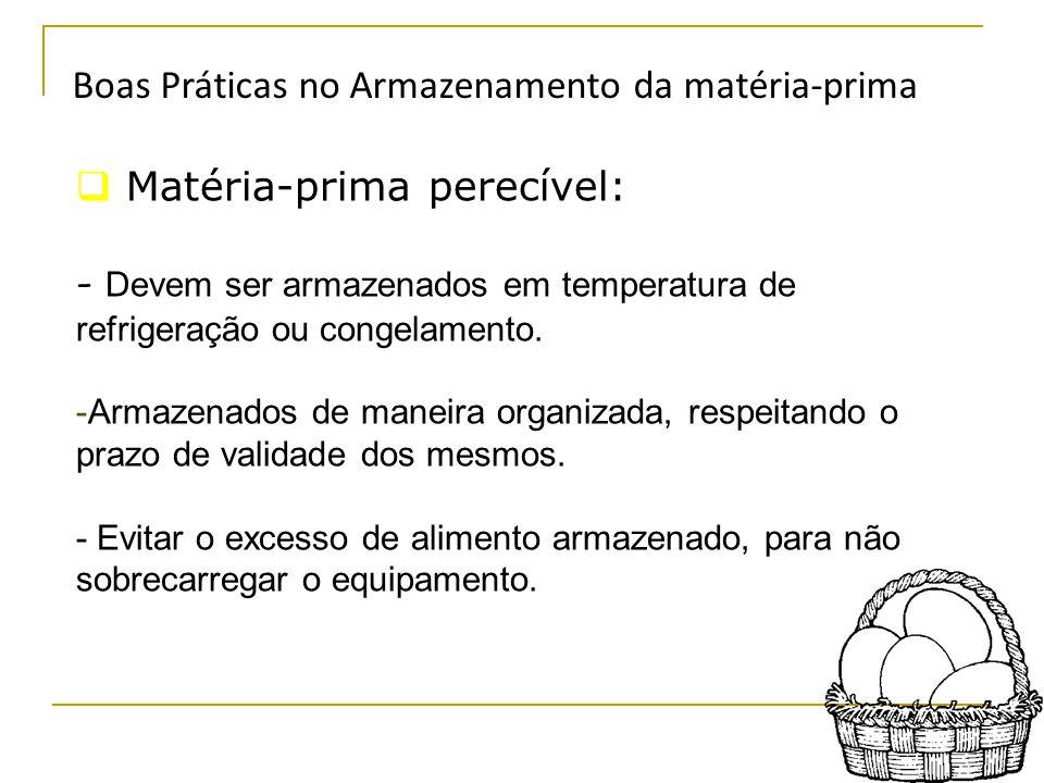 Boas Práticas no Armazenamento da matéria-prima  Matéria-prima perecível: - Devem ser armazenados em temperatura de refrigeração ou congelamento.