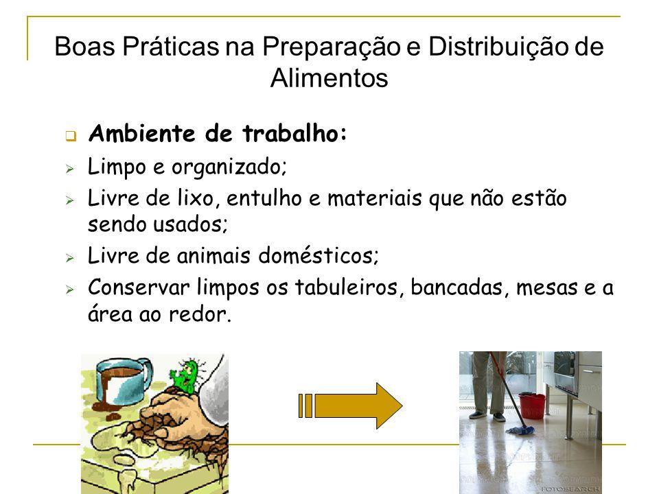  Ambiente de trabalho:  Limpo e organizado;  Livre de lixo, entulho e materiais que não estão sendo usados;  Livre de animais domésticos;  Conservar limpos os tabuleiros, bancadas, mesas e a área ao redor.