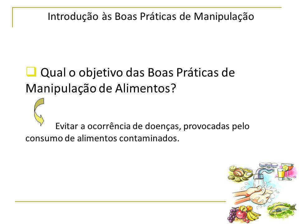 Introdução às Boas Práticas de Manipulação  Qual o objetivo das Boas Práticas de Manipulação de Alimentos.