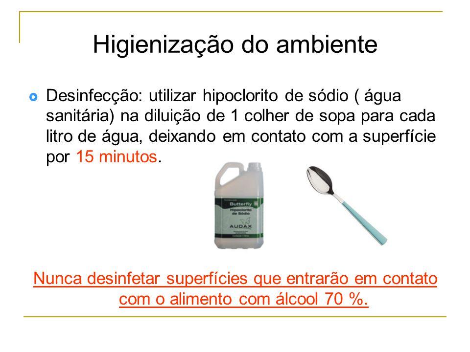  Desinfecção: utilizar hipoclorito de sódio ( água sanitária) na diluição de 1 colher de sopa para cada litro de água, deixando em contato com a superfície por 15 minutos.