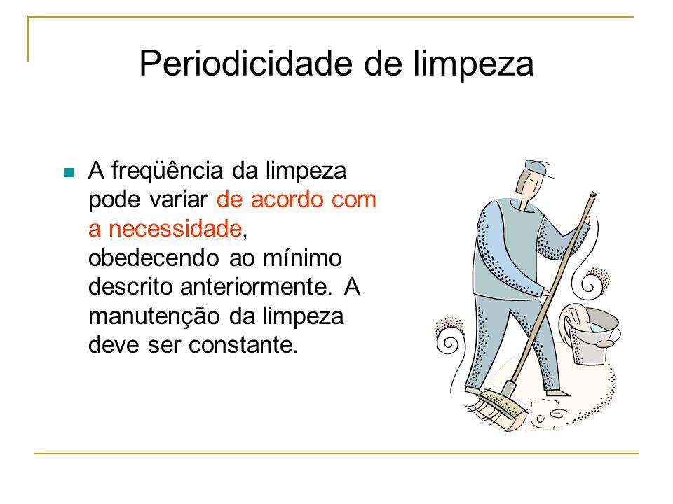 Periodicidade de limpeza A freqüência da limpeza pode variar de acordo com a necessidade, obedecendo ao mínimo descrito anteriormente.