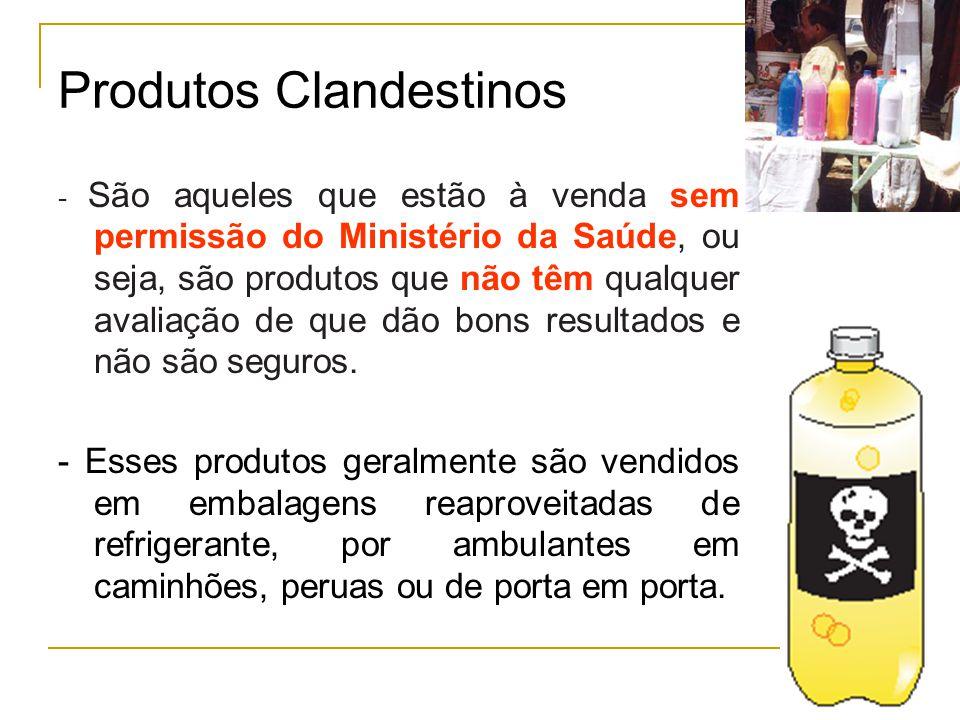 Produtos Clandestinos - São aqueles que estão à venda sem permissão do Ministério da Saúde, ou seja, são produtos que não têm qualquer avaliação de que dão bons resultados e não são seguros.