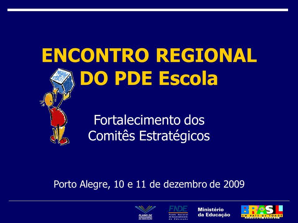 Porto Alegre, 10 e 11 de dezembro de 2009 ENCONTRO REGIONAL DO PDE Escola Fortalecimento dos Comitês Estratégicos