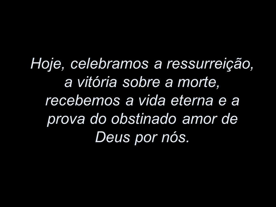 Hoje, celebramos a ressurreição, a vitória sobre a morte, recebemos a vida eterna e a prova do obstinado amor de Deus por nós.