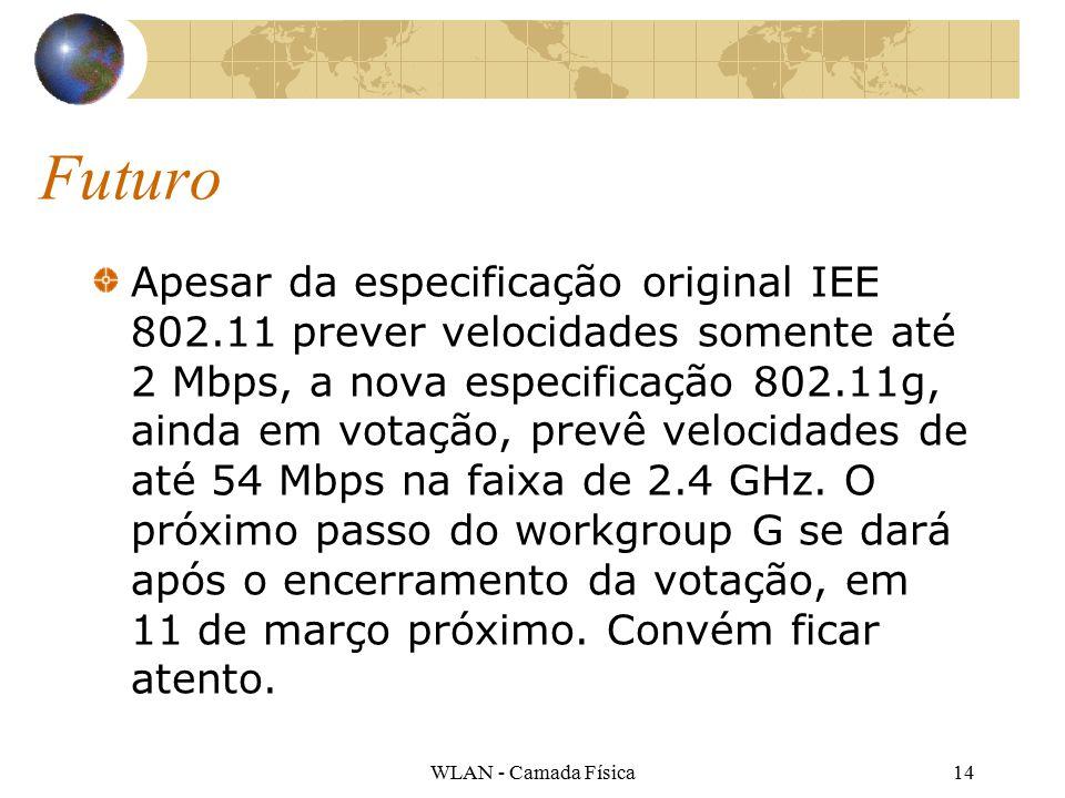 WLAN - Camada Física14 Futuro Apesar da especificação original IEE 802.11 prever velocidades somente até 2 Mbps, a nova especificação 802.11g, ainda em votação, prevê velocidades de até 54 Mbps na faixa de 2.4 GHz.