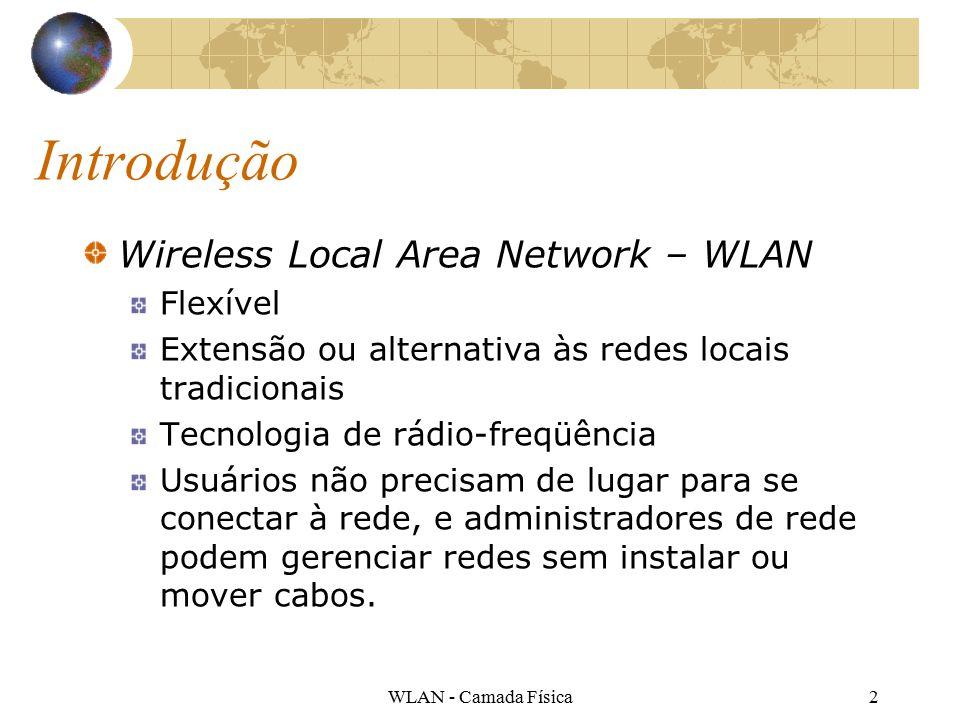 WLAN - Camada Física2 Introdução Wireless Local Area Network – WLAN Flexível Extensão ou alternativa às redes locais tradicionais Tecnologia de rádio-freqüência Usuários não precisam de lugar para se conectar à rede, e administradores de rede podem gerenciar redes sem instalar ou mover cabos.
