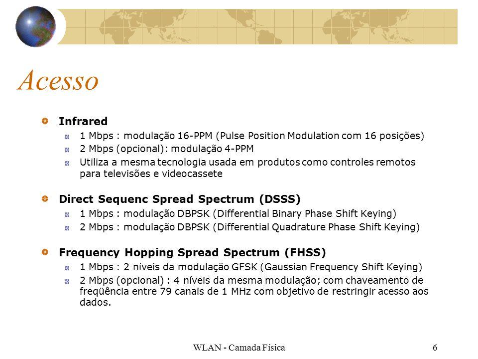 WLAN - Camada Física6 Acesso Infrared 1 Mbps : modulação 16-PPM (Pulse Position Modulation com 16 posições) 2 Mbps (opcional): modulação 4-PPM Utiliza a mesma tecnologia usada em produtos como controles remotos para televisões e videocassete Direct Sequenc Spread Spectrum (DSSS) 1 Mbps : modulação DBPSK (Differential Binary Phase Shift Keying) 2 Mbps : modulação DBPSK (Differential Quadrature Phase Shift Keying) Frequency Hopping Spread Spectrum (FHSS) 1 Mbps : 2 níveis da modulação GFSK (Gaussian Frequency Shift Keying) 2 Mbps (opcional) : 4 níveis da mesma modulação; com chaveamento de freqüência entre 79 canais de 1 MHz com objetivo de restringir acesso aos dados.