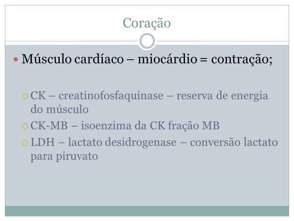 Coração Músculo cardíaco – miocárdio = contração;  CK – creatinofosfaquinase – reserva de energia do músculo  CK-MB – isoenzima da CK fração MB  LDH – lactato desidrogenase – conversão lactato para piruvato