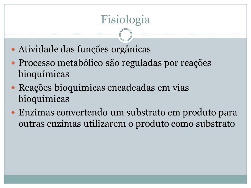 Fisiologia Atividade das funções orgânicas Processo metabólico são reguladas por reações bioquímicas Reações bioquímicas encadeadas em vias bioquímicas Enzimas convertendo um substrato em produto para outras enzimas utilizarem o produto como substrato