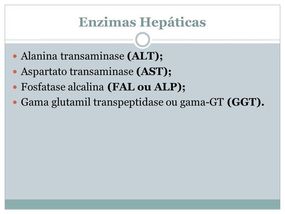 Enzimas Hepáticas Alanina transaminase (ALT); Aspartato transaminase (AST); Fosfatase alcalina (FAL ou ALP); Gama glutamil transpeptidase ou gama-GT (GGT).