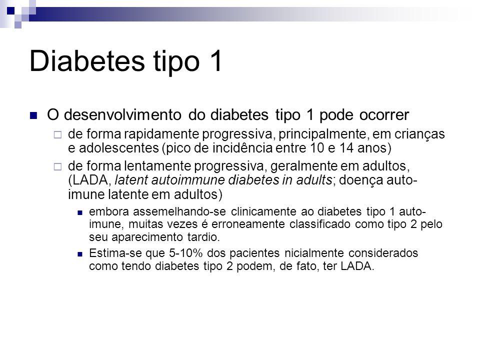 Diabetes tipo 1 O desenvolvimento do diabetes tipo 1 pode ocorrer  de forma rapidamente progressiva, principalmente, em crianças e adolescentes (pico