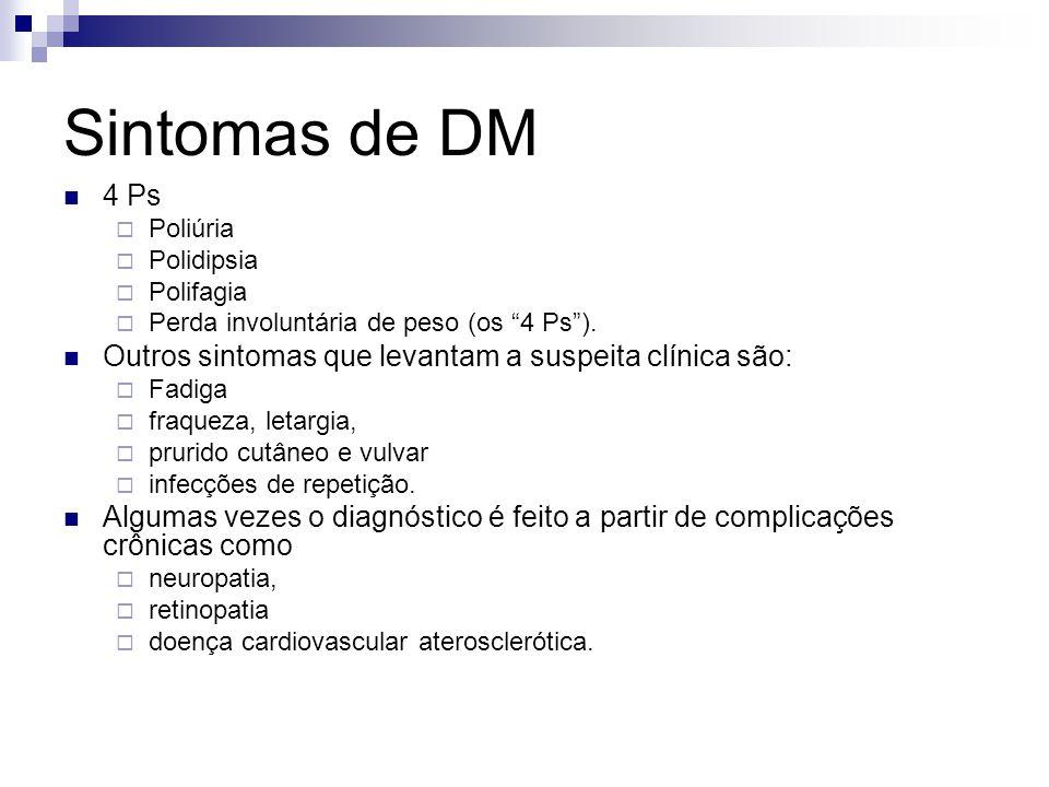 """Sintomas de DM 4 Ps  Poliúria  Polidipsia  Polifagia  Perda involuntária de peso (os """"4 Ps""""). Outros sintomas que levantam a suspeita clínica são:"""