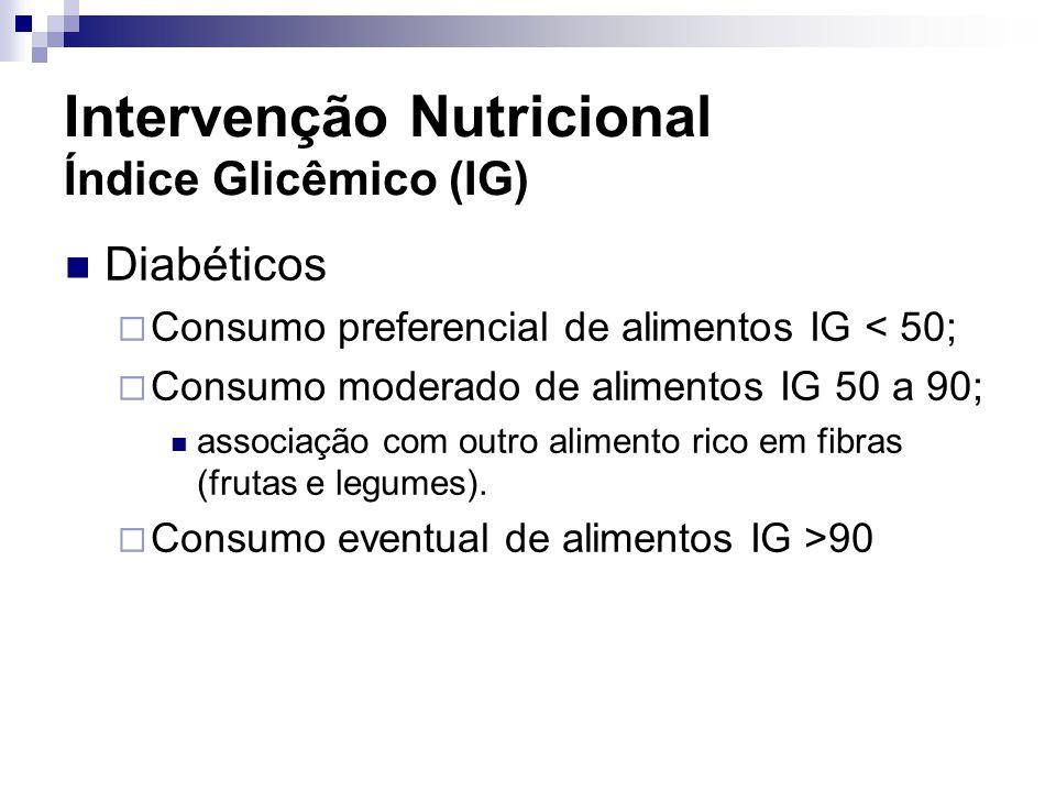 Diabéticos  Consumo preferencial de alimentos IG < 50;  Consumo moderado de alimentos IG 50 a 90; associação com outro alimento rico em fibras (frut