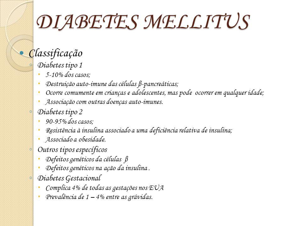 DIABETES MELLITUS Classificação ◦ Diabetes tipo 1  5-10% dos casos;  Destruição auto-imune das células β-pancreáticas;  Ocorre comumente em criança