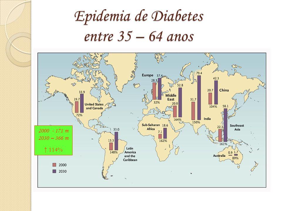 Epidemia de Diabetes entre 35 – 64 anos Hossain P et al. N Engl J Med 2007;356:213-215 2000 - 171 m 2030 – 366 m ↑ 114%