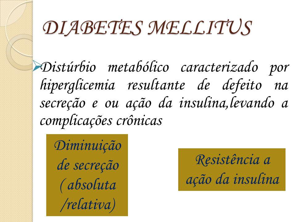 DIABETES MELLITUS  Distúrbio metabólico caracterizado por hiperglicemia resultante de defeito na secreção e ou ação da insulina,levando a complicaçõe