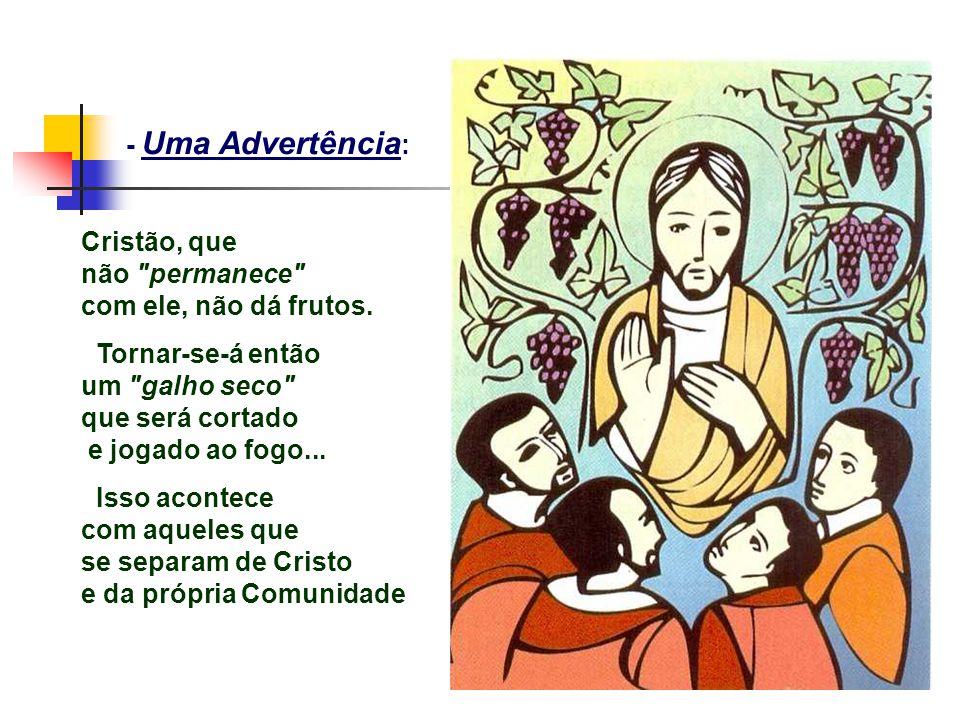 - Uma Advertência : Cristão, que não permanece com ele, não dá frutos.