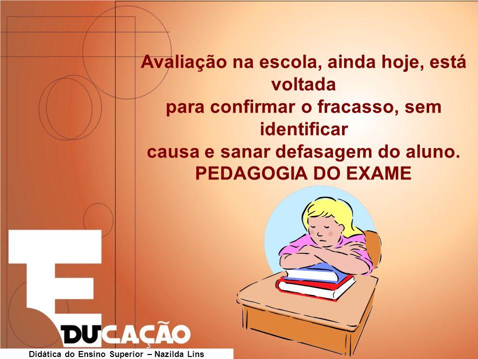 Avaliação na escola, ainda hoje, está voltada para confirmar o fracasso, sem identificar causa e sanar defasagem do aluno. PEDAGOGIA DO EXAME Didática