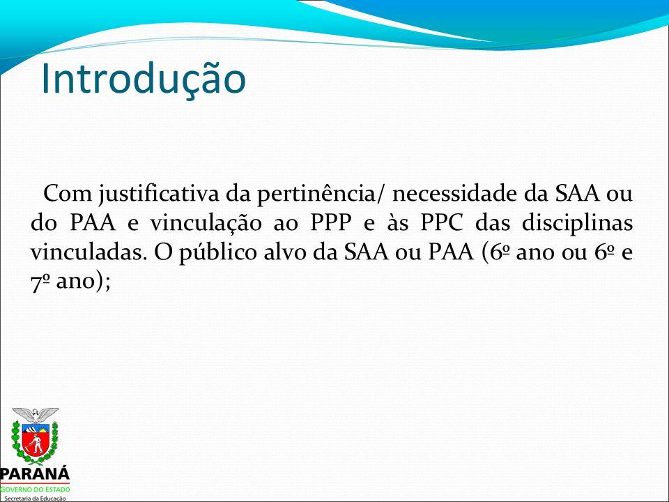 Introdução Com justificativa da pertinência/ necessidade da SAA ou do PAA e vinculação ao PPP e às PPC das disciplinas vinculadas.