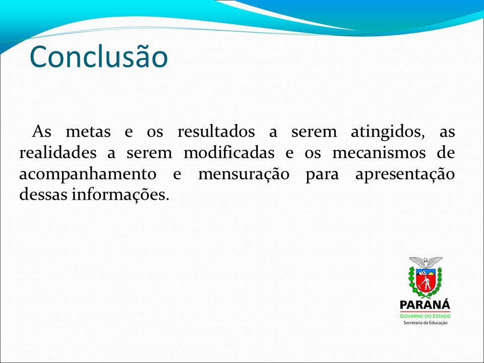 Conclusão As metas e os resultados a serem atingidos, as realidades a serem modificadas e os mecanismos de acompanhamento e mensuração para apresentação dessas informações.
