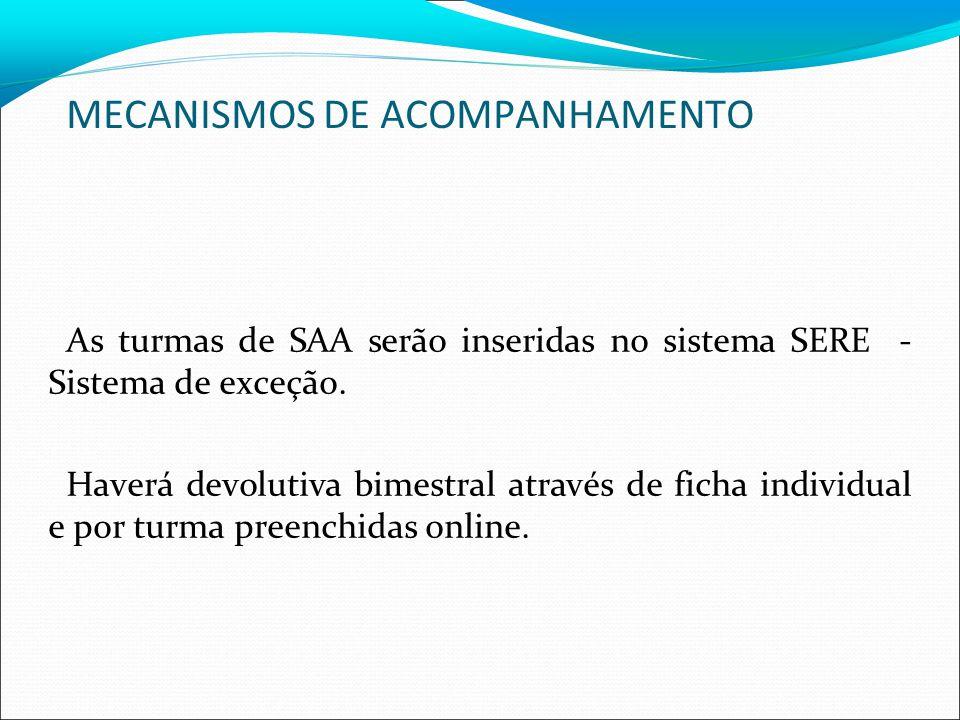 MECANISMOS DE ACOMPANHAMENTO As turmas de SAA serão inseridas no sistema SERE - Sistema de exceção.