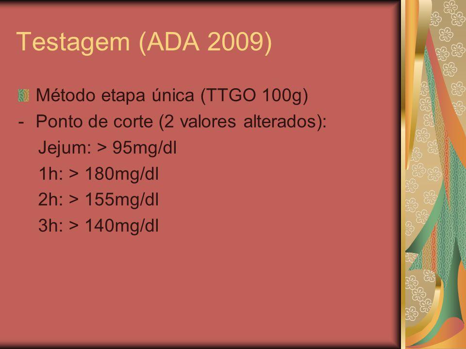 Testagem (ADA 2009) Método etapa única (TTGO 100g) -Ponto de corte (2 valores alterados): Jejum: > 95mg/dl 1h: > 180mg/dl 2h: > 155mg/dl 3h: > 140mg/dl