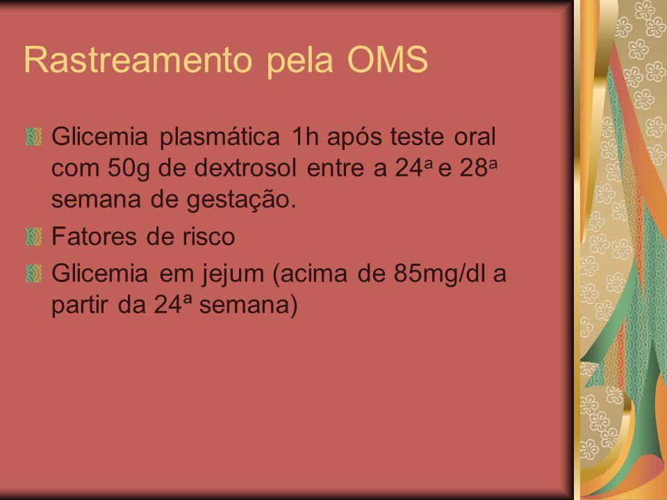Rastreamento pela OMS Glicemia plasmática 1h após teste oral com 50g de dextrosol entre a 24 a e 28 a semana de gestação.