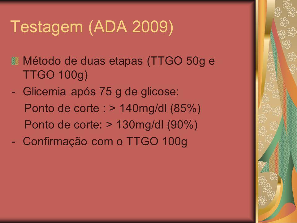 Testagem (ADA 2009) Método de duas etapas (TTGO 50g e TTGO 100g) -Glicemia após 75 g de glicose: Ponto de corte : > 140mg/dl (85%) Ponto de corte: > 130mg/dl (90%) -Confirmação com o TTGO 100g