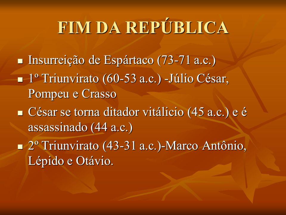 FIM DA REPÚBLICA Insurreição de Espártaco (73-71 a.c.) Insurreição de Espártaco (73-71 a.c.) 1º Triunvirato (60-53 a.c.) -Júlio César, Pompeu e Crasso 1º Triunvirato (60-53 a.c.) -Júlio César, Pompeu e Crasso César se torna ditador vitálicio (45 a.c.) e é assassinado (44 a.c.) César se torna ditador vitálicio (45 a.c.) e é assassinado (44 a.c.) 2º Triunvirato (43-31 a.c.)-Marco Antônio, Lépido e Otávio.