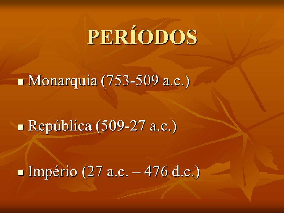 PERÍODOS Monarquia (753-509 a.c.) Monarquia (753-509 a.c.) República (509-27 a.c.) República (509-27 a.c.) Império (27 a.c.