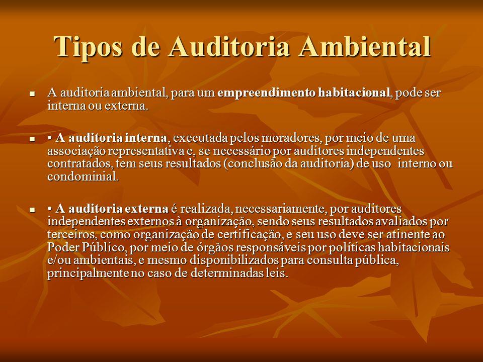 Auditoria Ambiental Interna Tipos de Auditoria Ambiental a