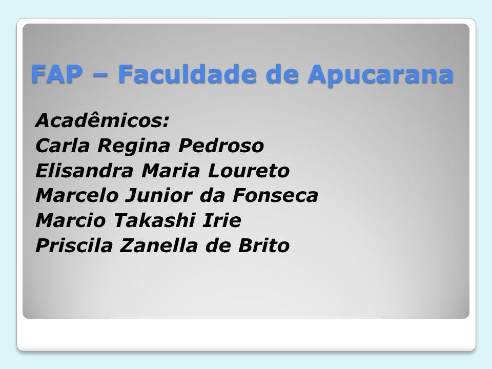 FAP – Faculdade de Apucarana Acadêmicos: Carla Regina Pedroso Elisandra Maria Loureto Marcelo Junior da Fonseca Marcio Takashi Irie Priscila Zanella d