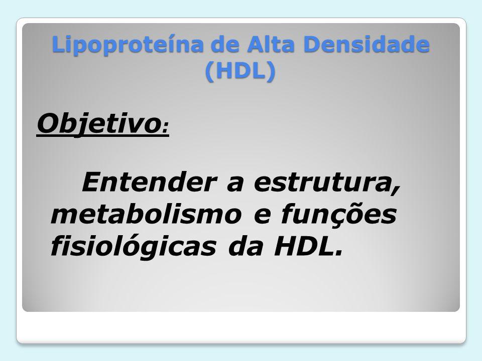 Lipoproteína de Alta Densidade (HDL) Objetivo : Entender a estrutura, metabolismo e funções fisiológicas da HDL.