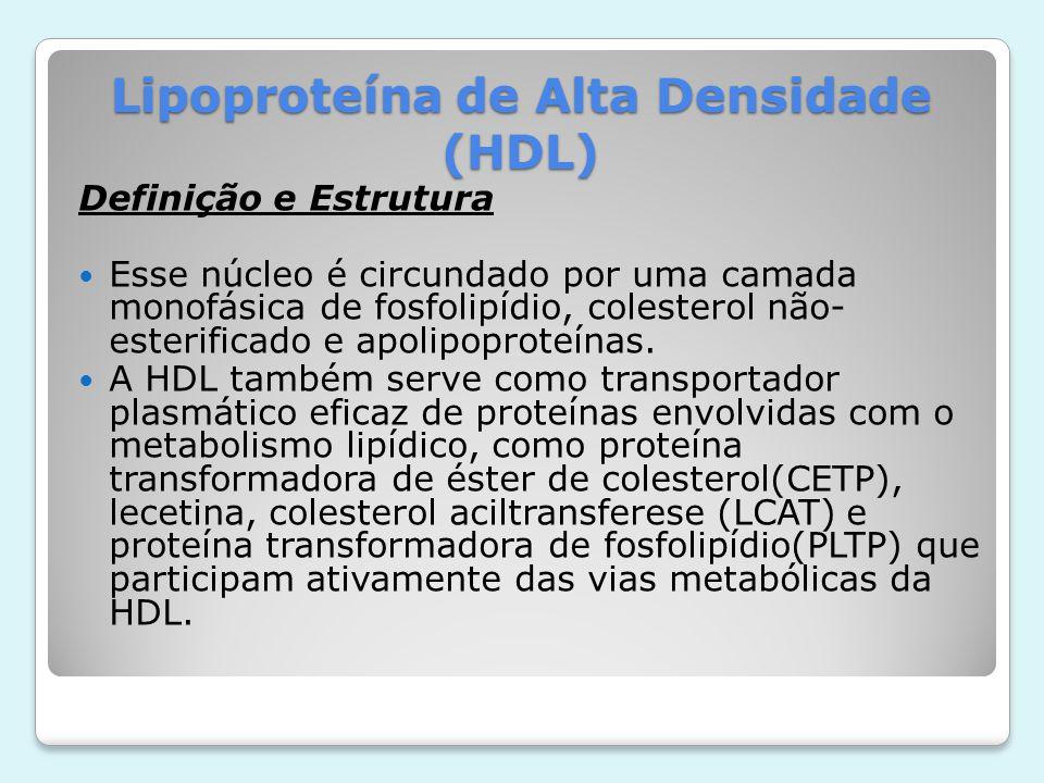 Lipoproteína de Alta Densidade (HDL) Definição e Estrutura Esse núcleo é circundado por uma camada monofásica de fosfolipídio, colesterol não- esterif