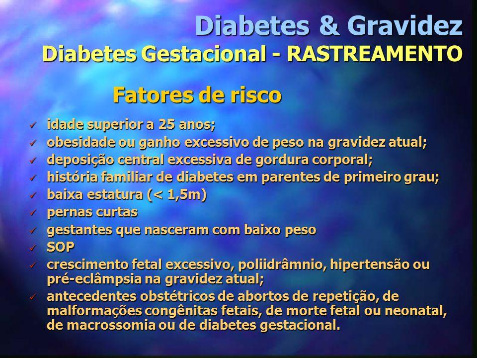 Fatores de risco Diabetes & Gravidez Diabetes Gestacional - RASTREAMENTO idade superior a 25 anos; idade superior a 25 anos; obesidade ou ganho excess