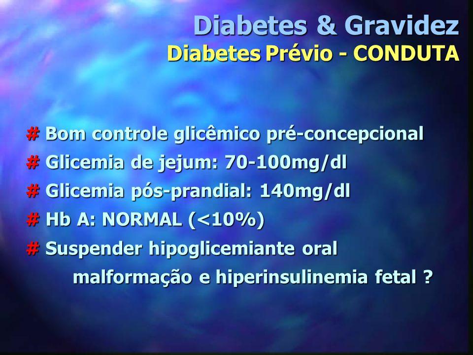 # Bom controle glicêmico pré-concepcional # Glicemia de jejum: 70-100mg/dl # Glicemia pós-prandial: 140mg/dl # Hb A: NORMAL (<10%) # Suspender hipogli