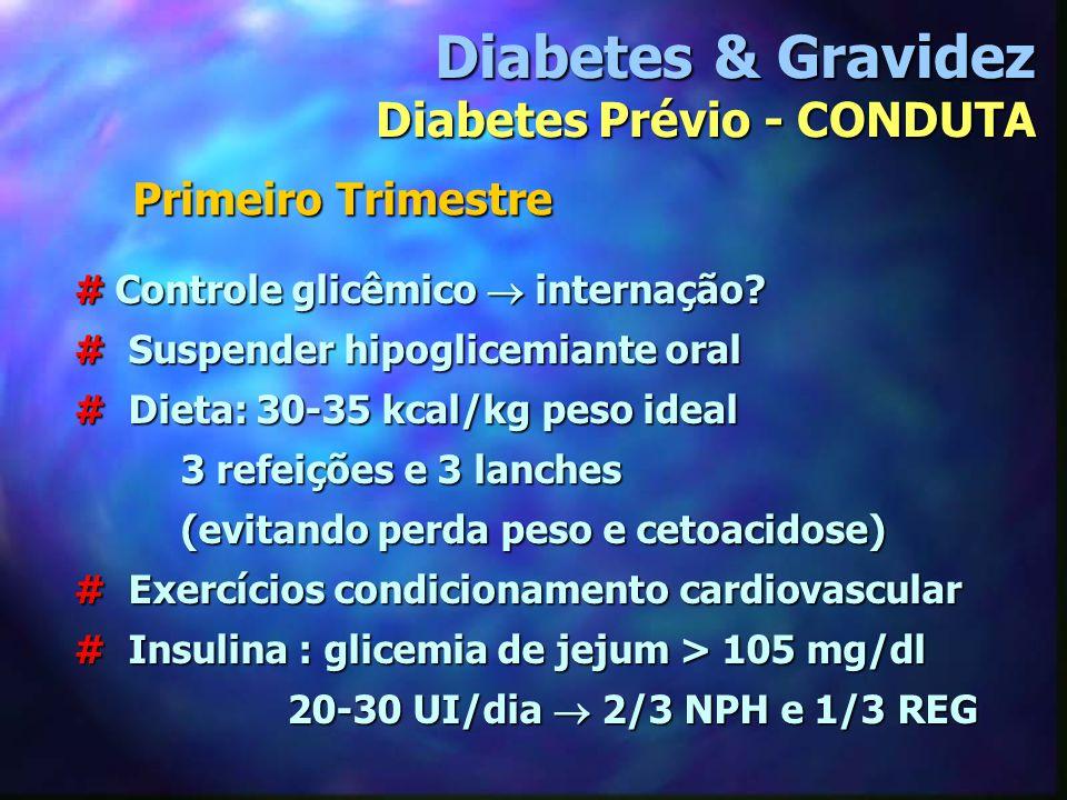 # Controle glicêmico  internação? # Suspender hipoglicemiante oral # Dieta: 30-35 kcal/kg peso ideal 3 refeições e 3 lanches (evitando perda peso e c