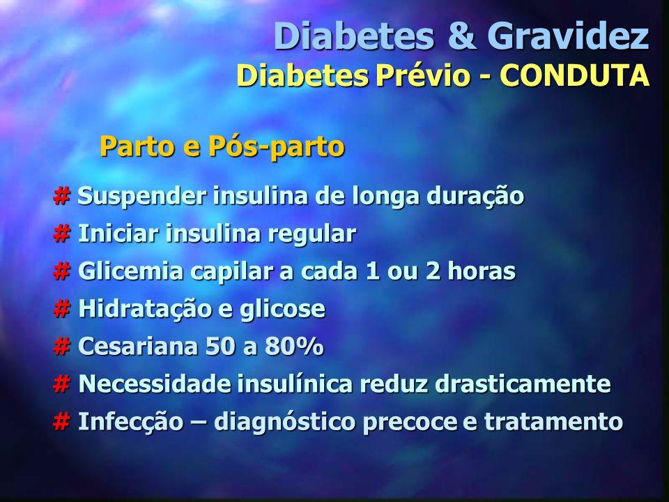 # Suspender insulina de longa duração # Iniciar insulina regular # Glicemia capilar a cada 1 ou 2 horas # Hidratação e glicose # Cesariana 50 a 80% #