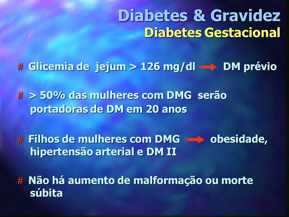 # Aborto espontâneo: HbA >12% glicemia jejum > 120mg/dl glicemia jejum > 120mg/dl # Malformações: 5% bom controle 9% sem controle 50% das mortes perinatais # Prematuridade - Sibai (2000): TP antes 35 sem 9% x 4,5% antecipação 7% x 2% Diabetes & Gravidez Diabetes Prévio