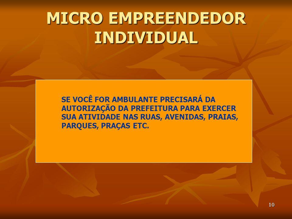 10 MICRO EMPREENDEDOR INDIVIDUAL SE VOCÊ FOR AMBULANTE PRECISARÁ DA AUTORIZAÇÃO DA PREFEITURA PARA EXERCER SUA ATIVIDADE NAS RUAS, AVENIDAS, PRAIAS, PARQUES, PRAÇAS ETC.