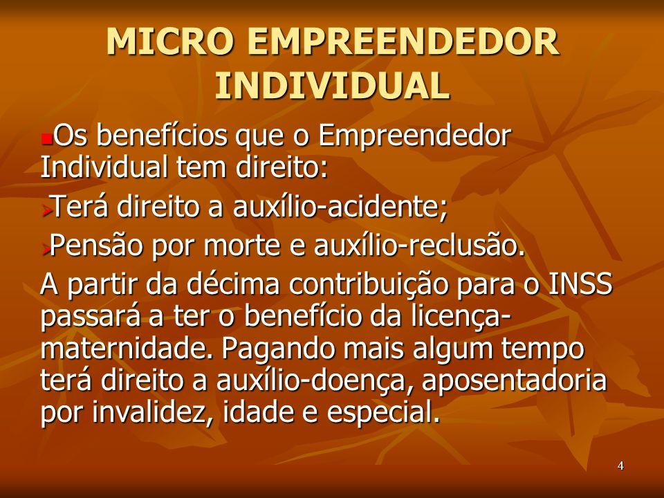 4 MICRO EMPREENDEDOR INDIVIDUAL Os benefícios que o Empreendedor Individual tem direito: Os benefícios que o Empreendedor Individual tem direito:  Terá direito a auxílio-acidente;  Pensão por morte e auxílio-reclusão.
