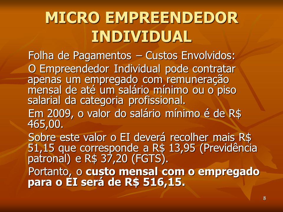 8 MICRO EMPREENDEDOR INDIVIDUAL Folha de Pagamentos – Custos Envolvidos: O Empreendedor Individual pode contratar apenas um empregado com remuneração mensal de até um salário mínimo ou o piso salarial da categoria profissional.